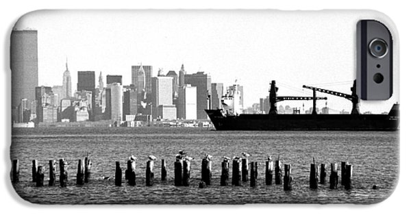 Twin Towers Nyc iPhone Cases - Ship in the Harbor 1990s iPhone Case by John Rizzuto