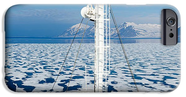 Landscape In Norway iPhone Cases - Ship In The Ocean With A Mountain Range iPhone Case by Panoramic Images