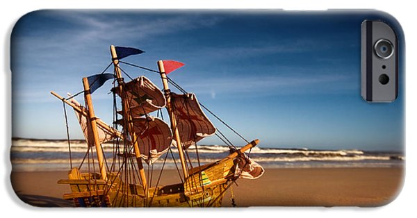 Pirate Ships iPhone Cases - Ship model on summer sunny beach iPhone Case by Michal Bednarek