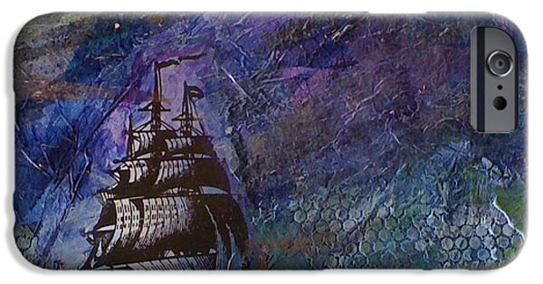 Pirate Ship Mixed Media iPhone Cases - Ship on Dark Sea iPhone Case by Sarah Taylor
