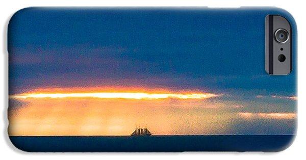 Edgar Laureano Photographs iPhone Cases - Ship on the horizon iPhone Case by Edgar Laureano