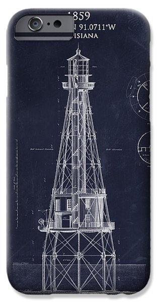 Gulf Of Mexico iPhone Cases - Ship Shoal lighthouse blueprint art print iPhone Case by Sara Harris