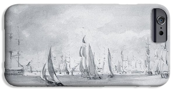 Boat iPhone Cases - Shipping In The Thames Graphite On Paper iPhone Case by John Constable