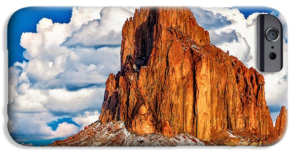 Nation iPhone Cases - Shiprock And Clouds  iPhone Case by  Bob and Nadine Johnston