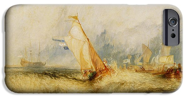 Wet On Wet Paintings iPhone Cases - Ships a Sea Getting a Good Wetting iPhone Case by Joseph Mallord