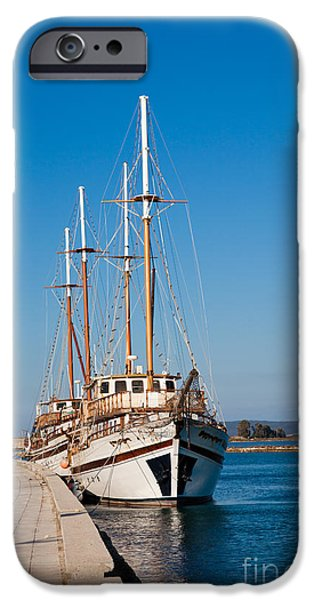 Docked Sailboat iPhone Cases - Ships at Lefkada iPhone Case by Gabriela Insuratelu