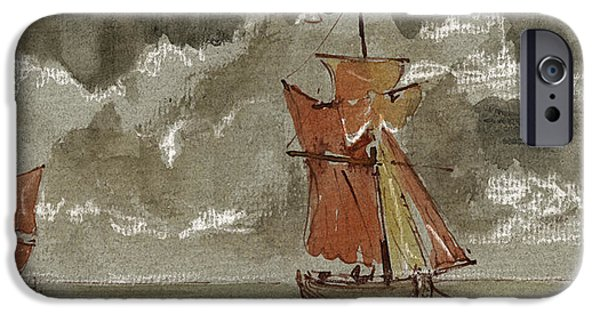 Storm iPhone Cases - Ships at sea iPhone Case by Juan  Bosco