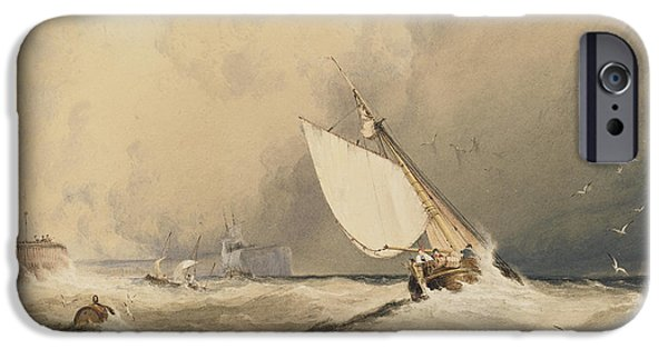 Storm Paintings iPhone Cases - Ships at sea off Folkestone harbour storm approaching iPhone Case by Anthony Vandyke Copley Fielding