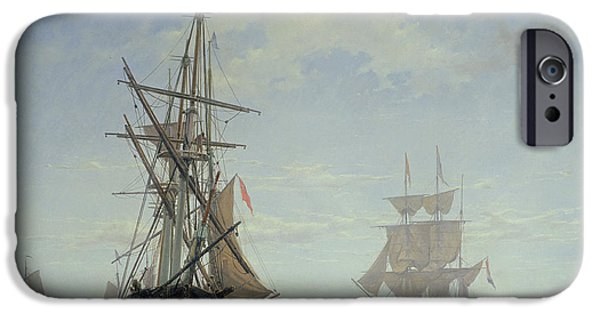 Sailboats In Harbor iPhone Cases - Ships in a Dutch Estuary iPhone Case by WA Van Deventer