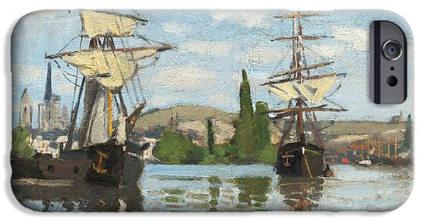 Tall Ship iPhone Cases - Ships Riding on the Seine at Rouen iPhone Case by Claude Monet