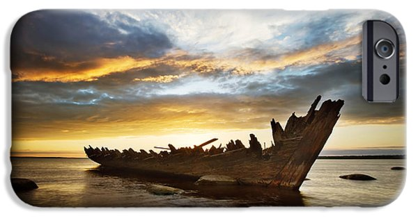 Ruins Pyrography iPhone Cases - Shipwreck at sunset iPhone Case by Anna Grigorjeva