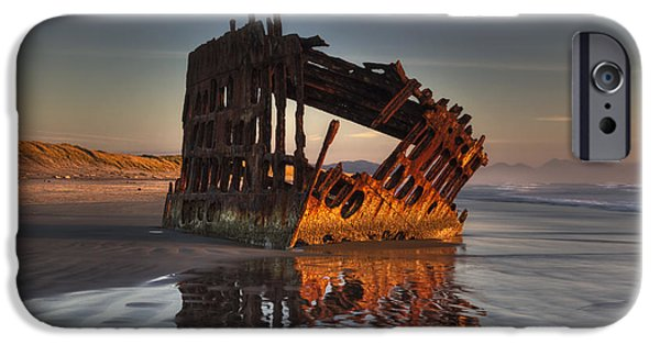 Rust iPhone Cases - Shipwreck at Sunset iPhone Case by Mark Kiver