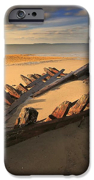 Shipwreck On Cape Cod Beach iPhone Case by Dapixara Art
