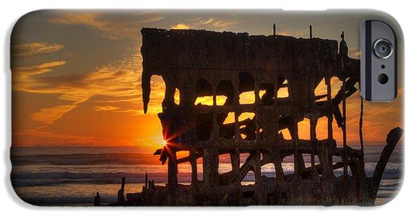 Spit iPhone Cases - Shipwreck Sunburst iPhone Case by Mark Kiver