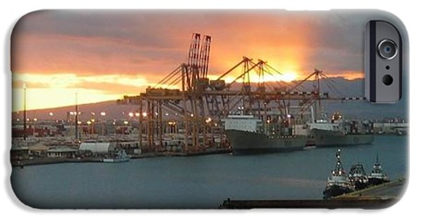 July iPhone Cases - Shipyard Sunset - Honolulu  iPhone Case by Photographic Arts And Design Studio