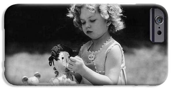 Tea Party Photographs iPhone Cases - Shirley Temple Tea Party With Doll iPhone Case by MMG Archives