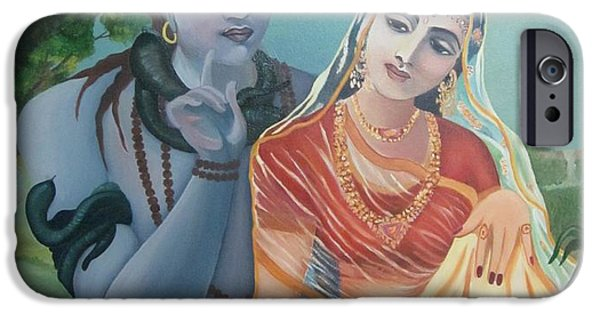 Parvati Paintings iPhone Cases - Shiv and Parvati iPhone Case by Alka  Malik
