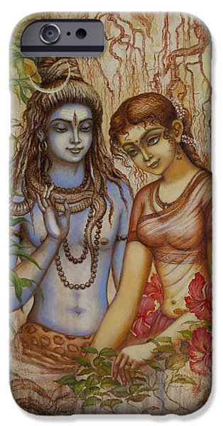 Parvati Paintings iPhone Cases - Shiva and Parvati iPhone Case by Vrindavan Das