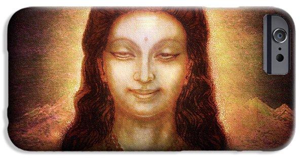 Hindu Goddess iPhone Cases - Shiva in Transcendental Bliss iPhone Case by Ananda Vdovic