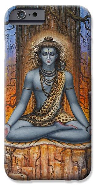 Kundalini iPhone Cases - Shiva meditation iPhone Case by Vrindavan Das