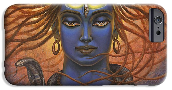 Third Eye Paintings iPhone Cases - Shiva OM iPhone Case by Vrindavan Das
