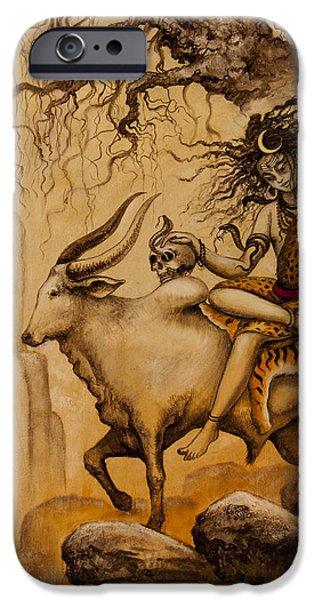 Kundalini iPhone Cases - Shiva on Nandi bull iPhone Case by Vrindavan Das