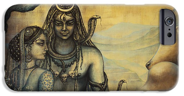 Parvati Paintings iPhone Cases - Shiva Parvati . Spring in Himalayas iPhone Case by Vrindavan Das
