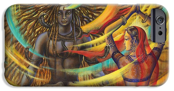 Parvati Paintings iPhone Cases - Shiva Shakti iPhone Case by Vrindavan Das