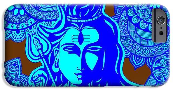 Hindu Goddess iPhone Cases - Shiva with Mandalas iPhone Case by Sketchii Studio