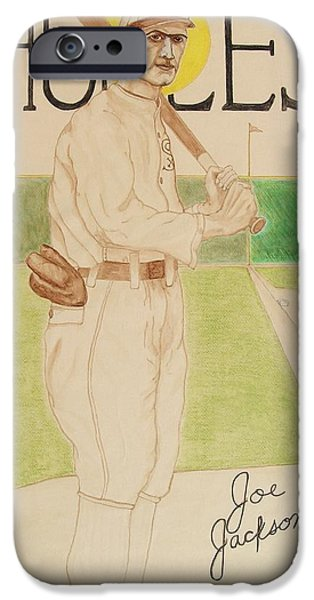 Baseball Drawings iPhone Cases - Shoeless Joe Jackson iPhone Case by Rand Swift