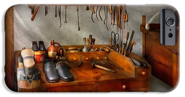 Work Tool iPhone Cases - Shoemaker - The cobblers shop iPhone Case by Mike Savad