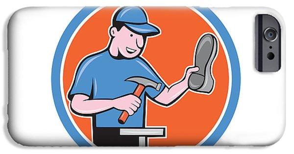 Repairman iPhone Cases - Shoemaker With Hammer Shoe Cartoon iPhone Case by Aloysius Patrimonio