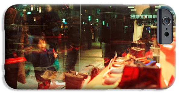 Small iPhone Cases - Shoes Displayed In A Store Window iPhone Case by Panoramic Images
