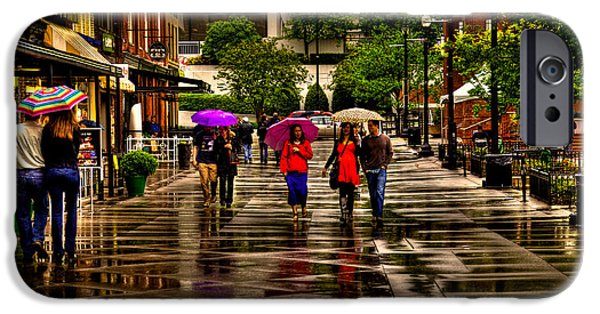 Rita iPhone Cases - Shopping in the Rain iPhone Case by David Patterson