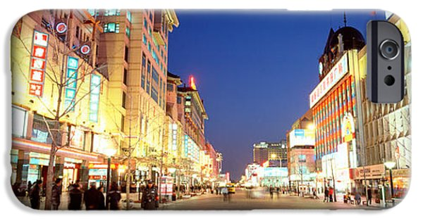 Beijing iPhone Cases - Shops Lit Up At Dusk, Wangfujing iPhone Case by Panoramic Images