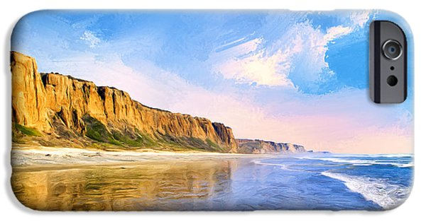 Clemente Paintings iPhone Cases - Shore Cliffs Near San Onofre iPhone Case by Dominic Piperata
