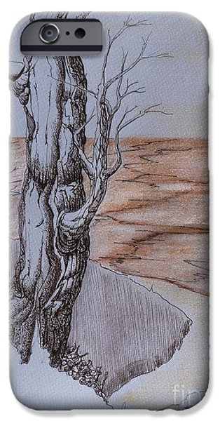 Sepia Ink Drawings iPhone Cases - Shore Time iPhone Case by Grant Mansel-James