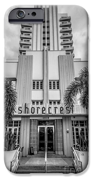 Ian Monk Photography iPhone Cases - Shorecrest Hotel on South Beach Miami - Black and White iPhone Case by Ian Monk