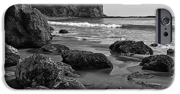 Abstract Beach Landscape Digital iPhone Cases - Shoreline Near Abalone Cove iPhone Case by Ron Regalado