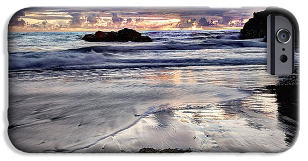 Sunset Glass Art iPhone Cases - Short Beach Sunset iPhone Case by Jim Young