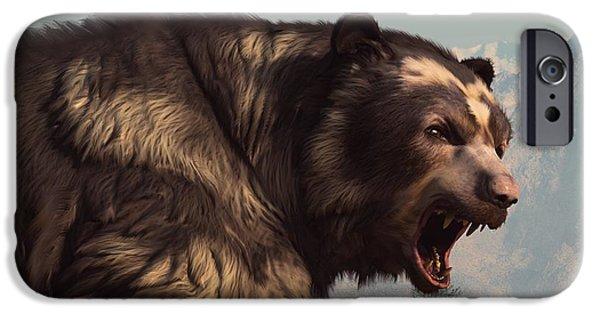Growling iPhone Cases - Short Faced Bear iPhone Case by Daniel Eskridge