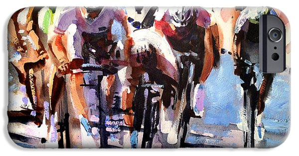Racing Paintings iPhone Cases - Short Sharp Sprint iPhone Case by Shirley  Peters