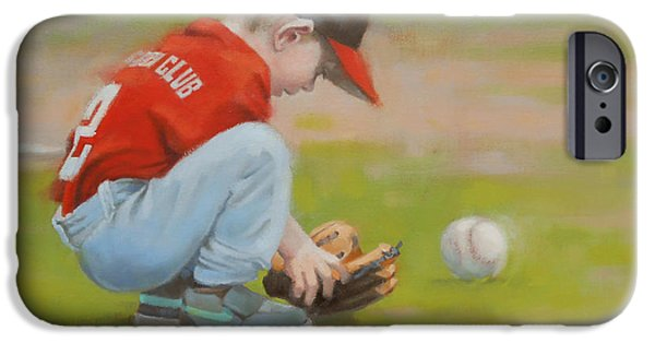 Baseball Uniform Paintings iPhone Cases - Short Shortstop iPhone Case by Todd Baxter