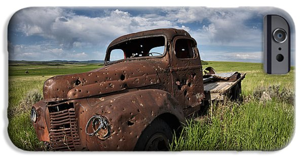 Old Trucks Photographs iPhone Cases - Shot up iPhone Case by Leland D Howard