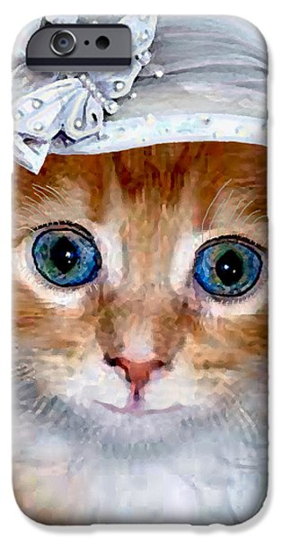 Child iPhone Cases - Shotgun Bride  Cats In Hats iPhone Case by Michele  Avanti