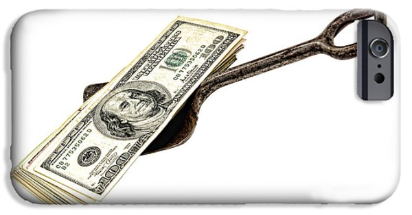 Metaphor iPhone Cases - Shovel of Dollar iPhone Case by Olivier Le Queinec