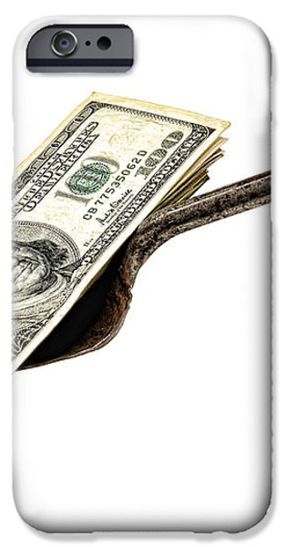 Shovel of Dollar iPhone Case by Olivier Le Queinec