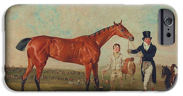 Racecourse iPhone Cases - Shoveller Held by her Trainer Will Chifney iPhone Case by Benjamin Marshall