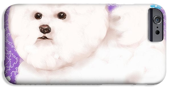 Dog Mixed Media iPhone Cases - Show Dog Bichon Frise iPhone Case by Shari Warren