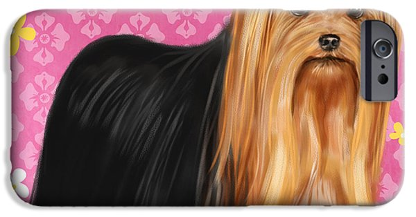 Dog Mixed Media iPhone Cases - Show Dog Yorkshire Terrier iPhone Case by Shari Warren